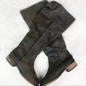 Bp Brown Suede Leather Tan Knee High Boots